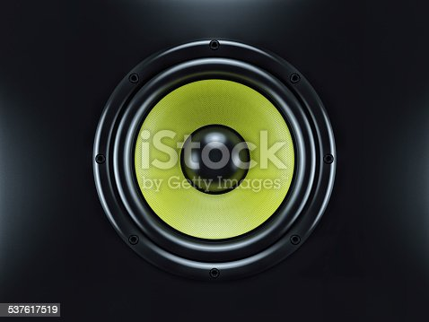 istock Musical sound speaker on black background 537617519