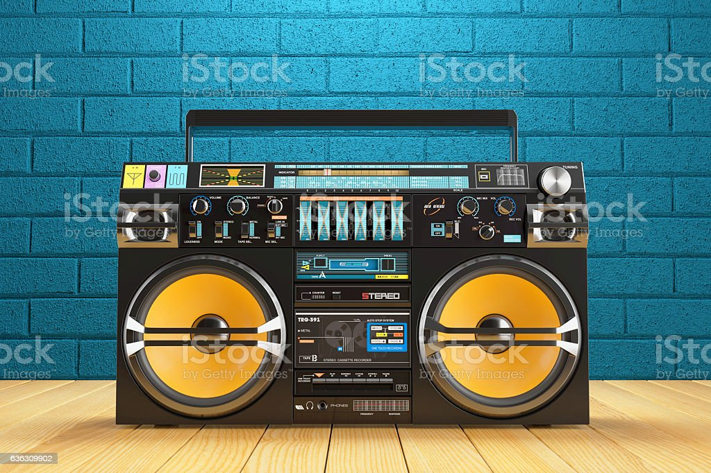 Musical tape player recoreder. Vintage radio FM player stock photo