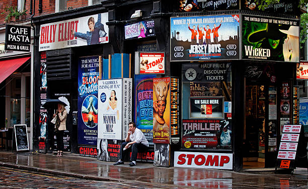 musical tickets shop in london, uk - mamma mia stock photos and pictures