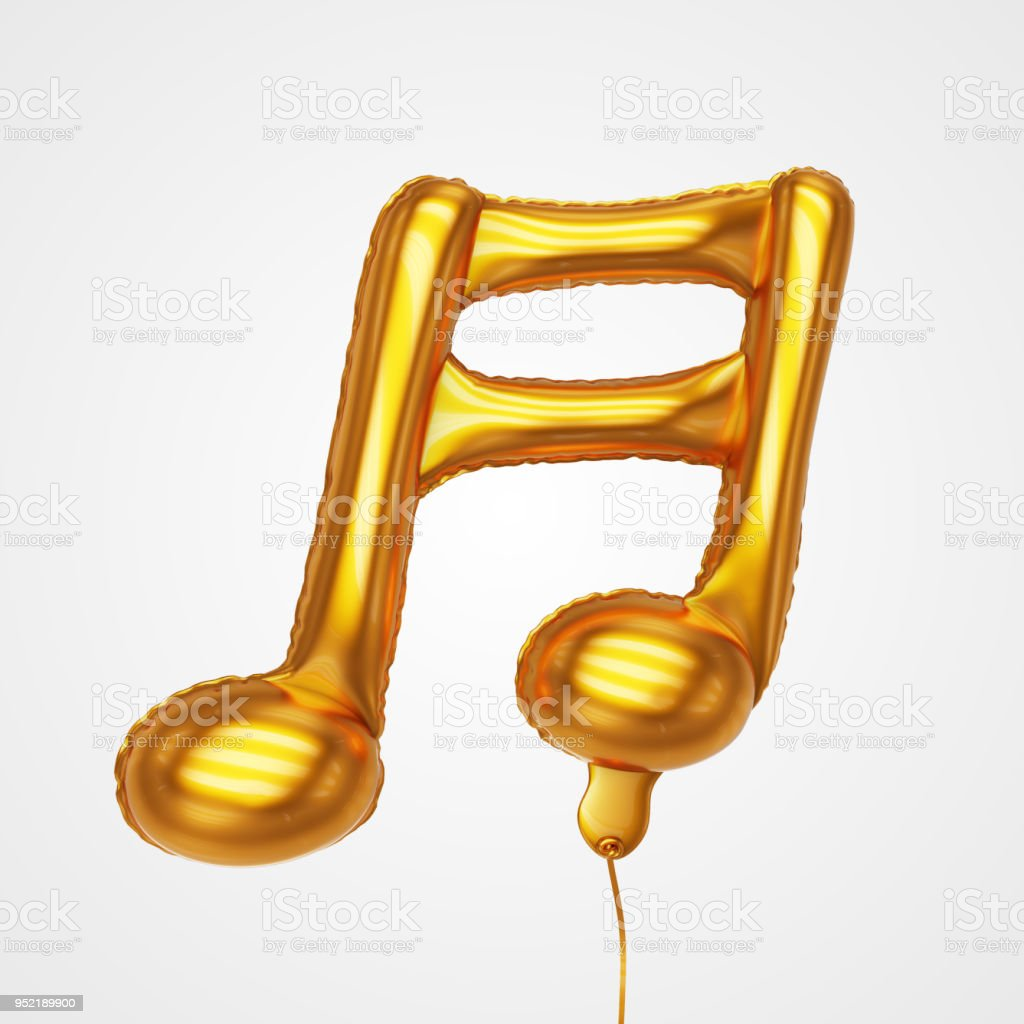 Musical Tone Balloon Floating in front view - Stock Image stock photo