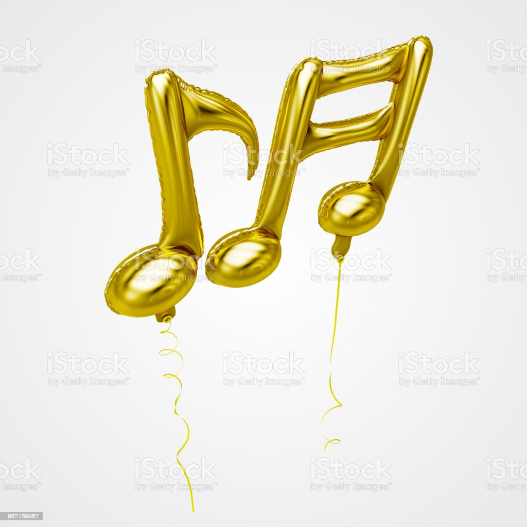 Musical Tone Balloons Floating in front view - Stock Image stock photo