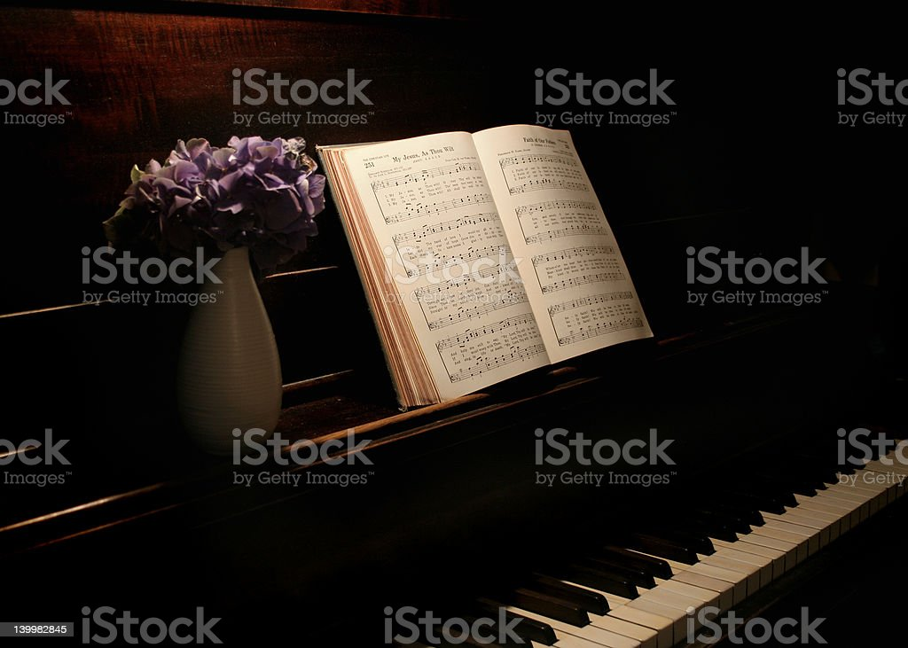 musicbook and flowers stock photo