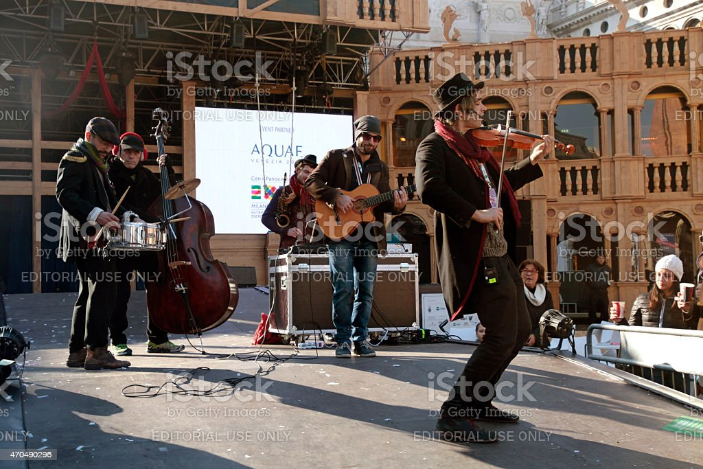 Musician band play music at stage of Grand Theatre,Venice stock photo