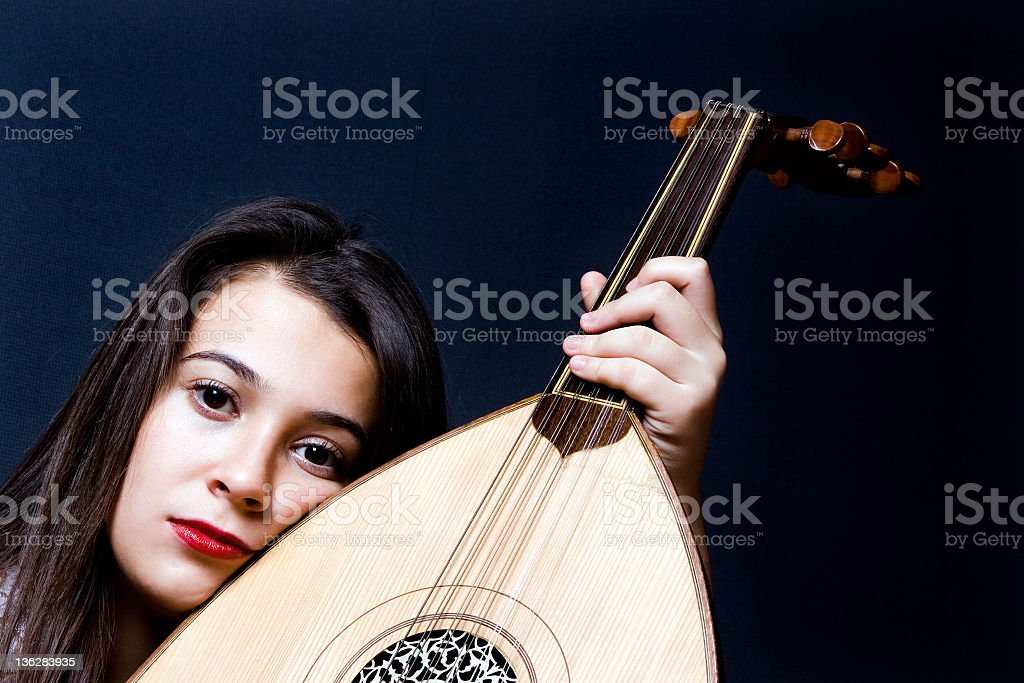 musician girl stock photo