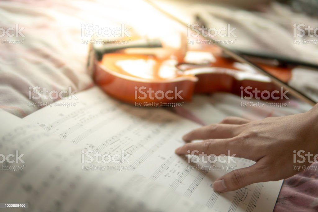Musician hand on sheet of music note and vintage violin on flowery...