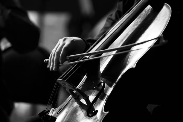 Musiker-Hand mit dem Cellospiel – Foto