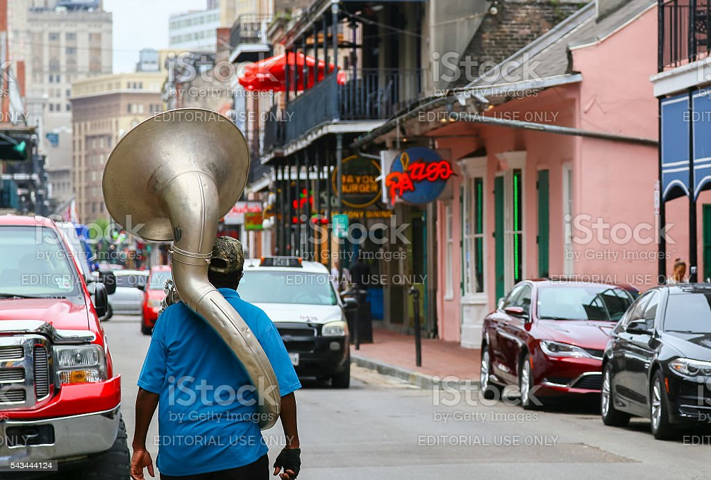 Musician in Bourbon Street stock photo