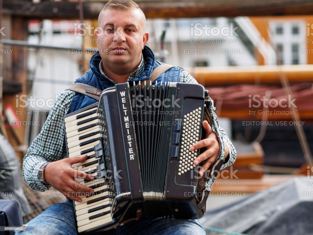 Musician in Copenhagen stock photo
