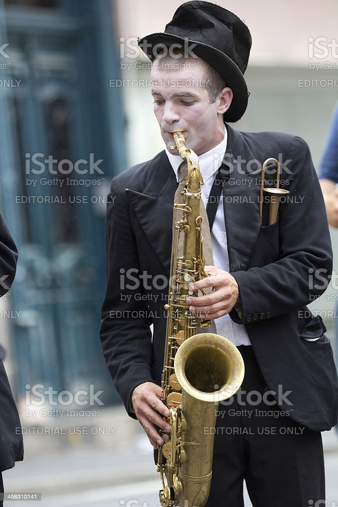 Musician in the street. stock photo