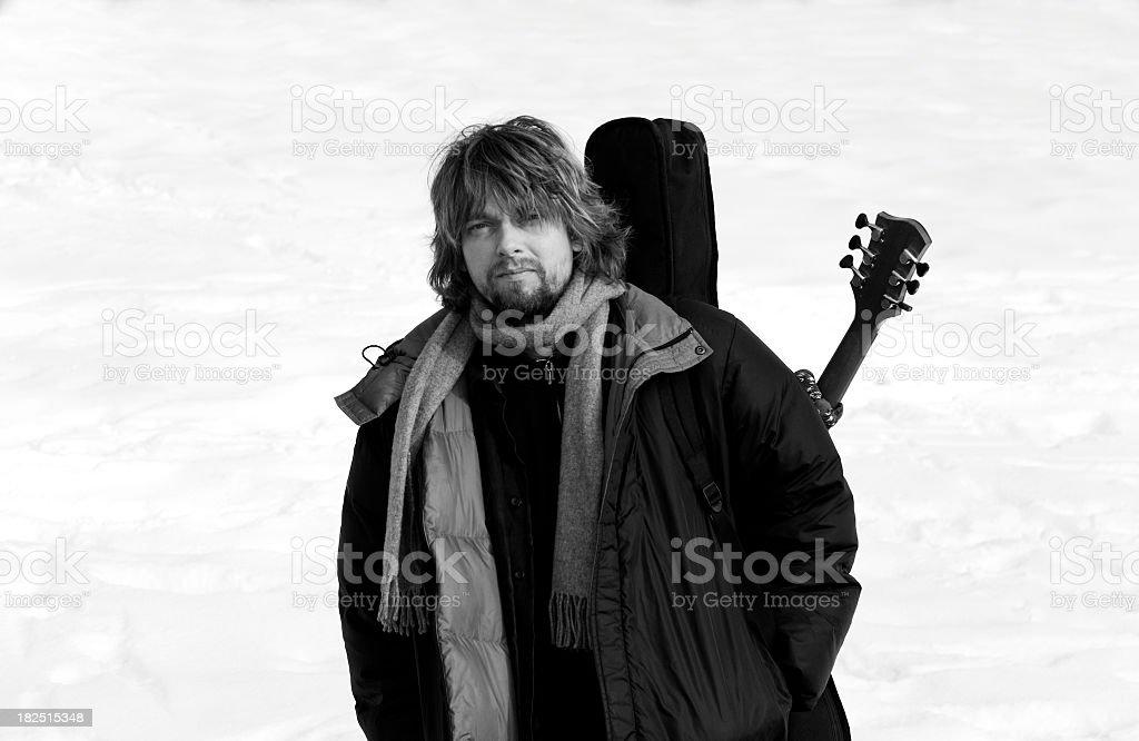 Musician in winter stock photo
