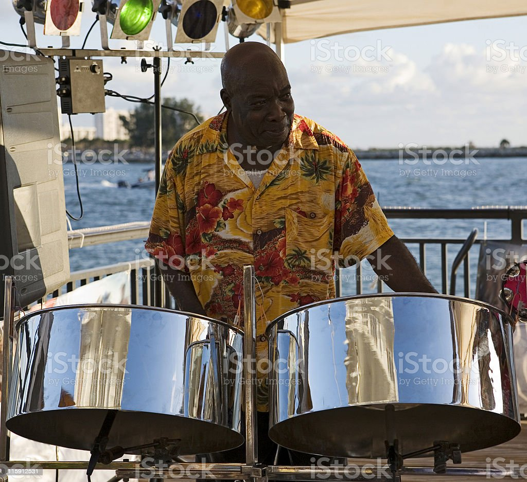 Musician On Steel Drums stock photo
