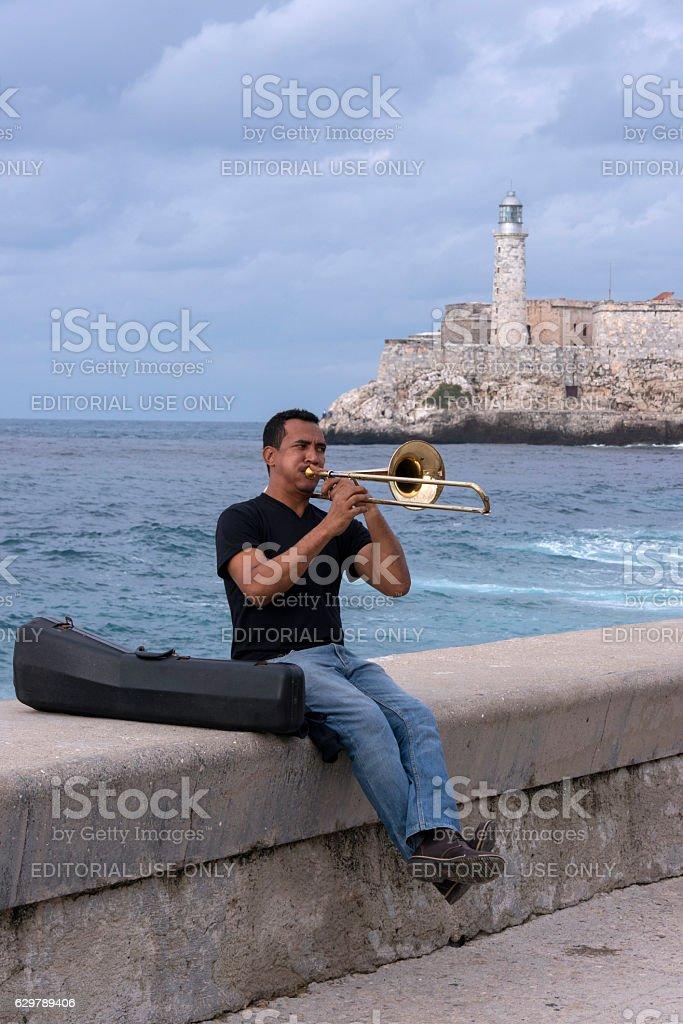 Musician on the Malecon of Havana - foto de stock