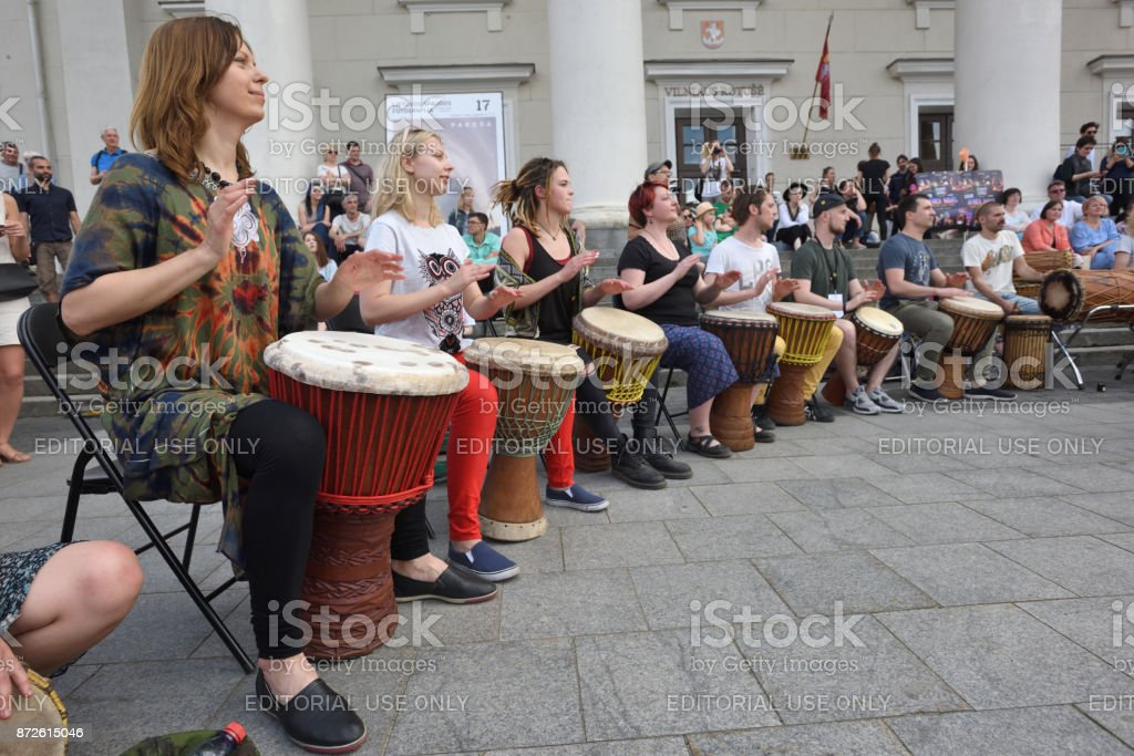 Musician play drums stock photo