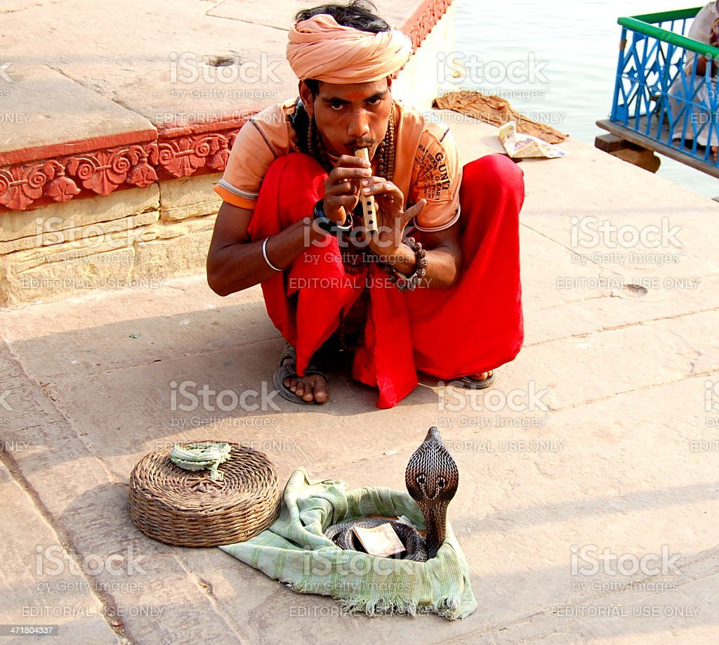 Musician playing a pipe for snakes royalty-free stock photo