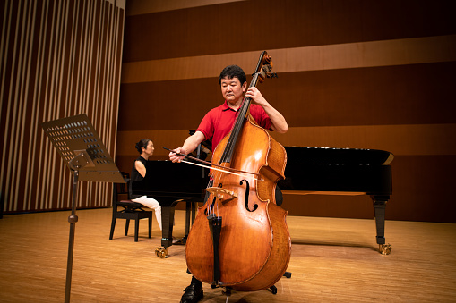 Musician playing cello and piano at classical concert