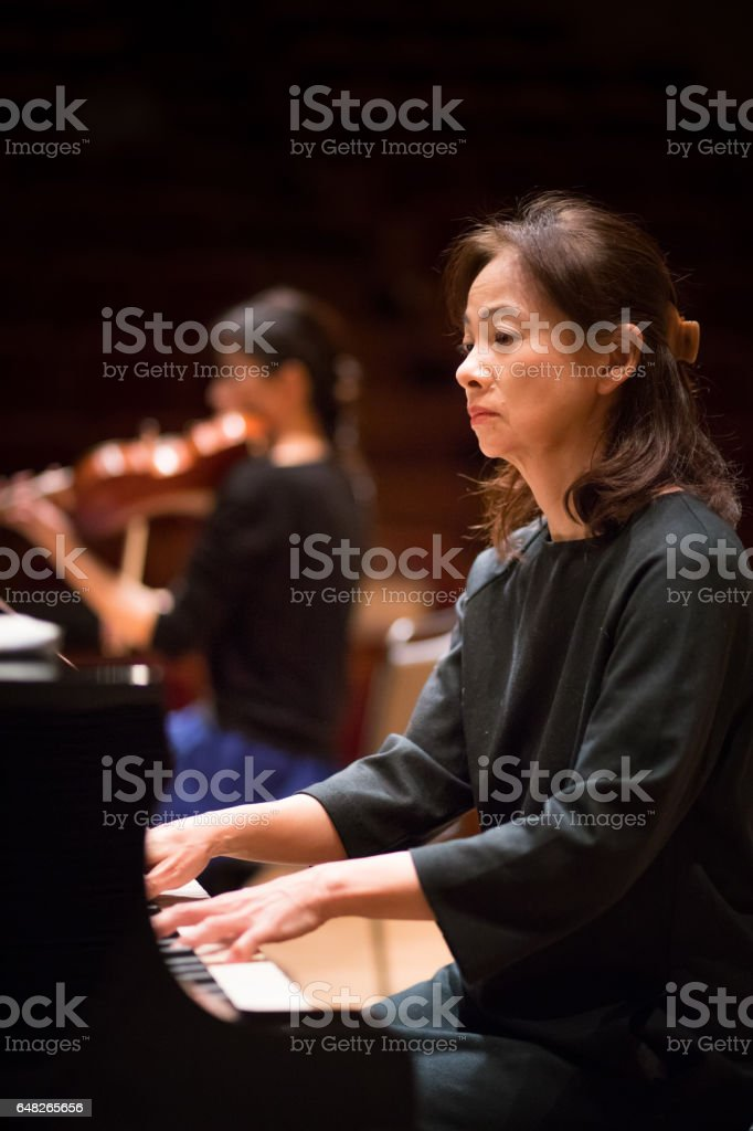 Musician playing classic music on concert stage
