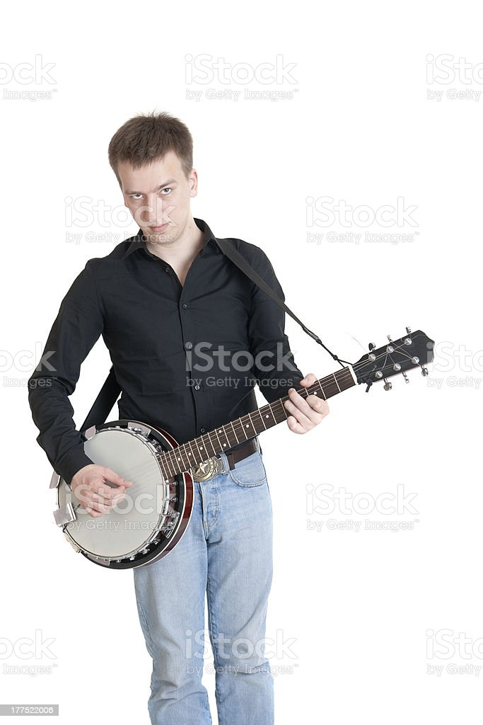 musician playing on a banjo stock photo