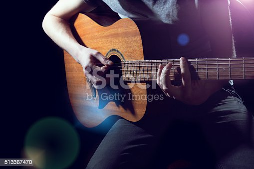 istock Musician playing on acoustic guitar 513367470