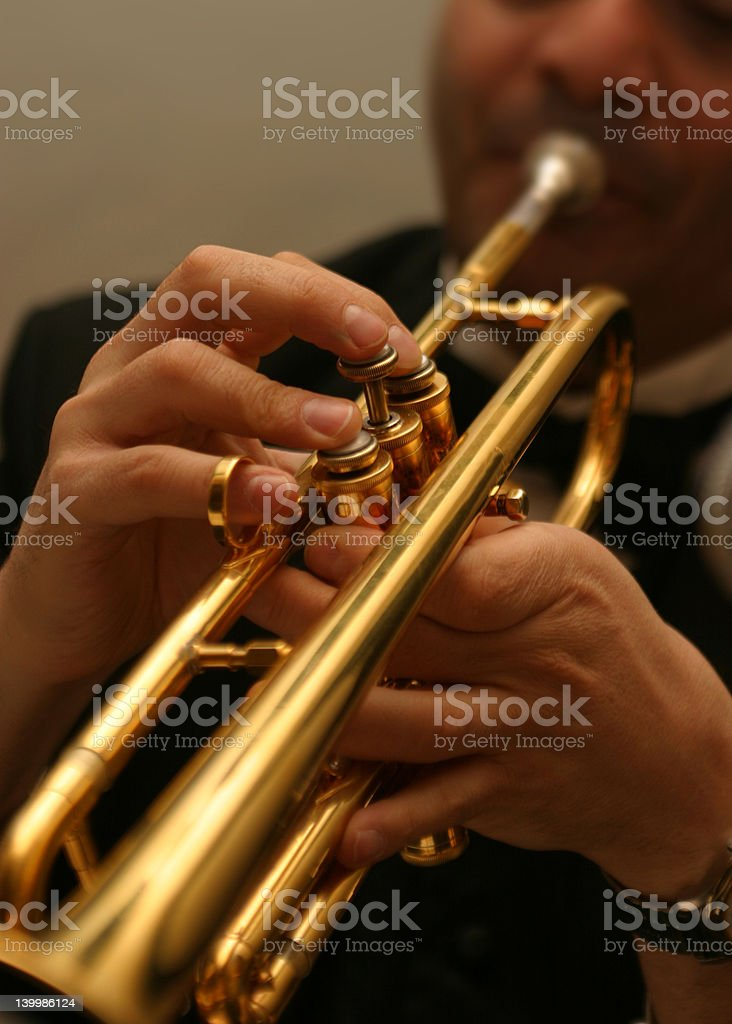 Musician playing trumpet. royalty-free stock photo