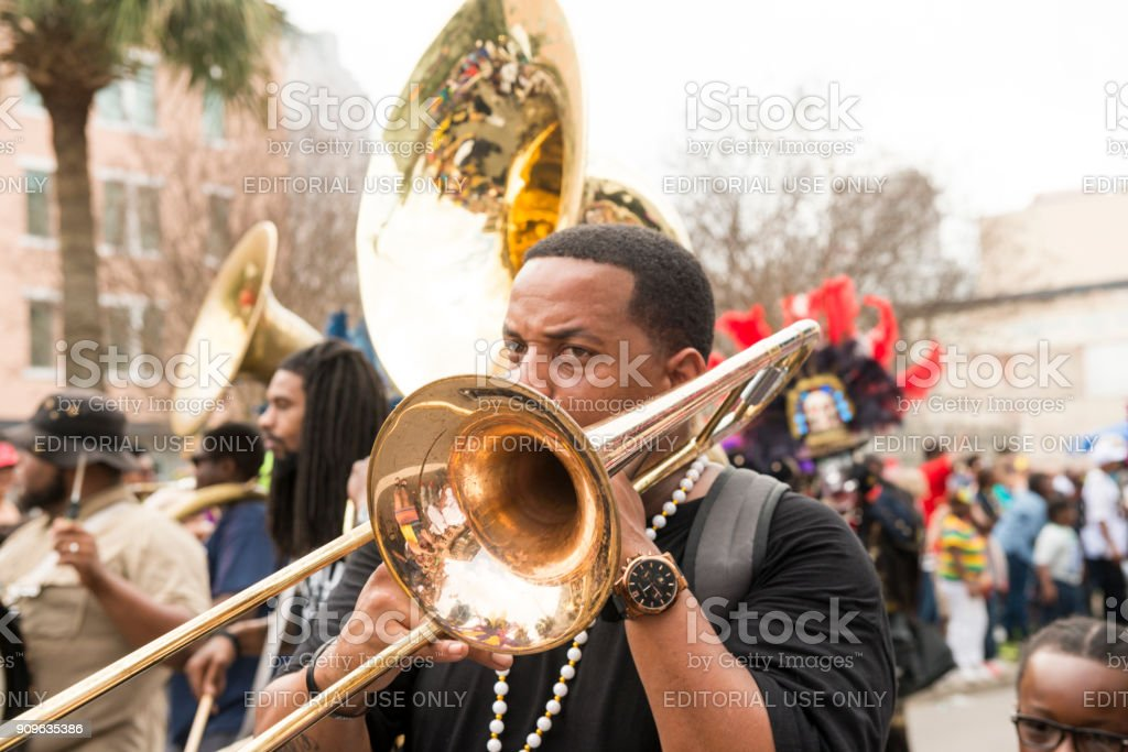 Musician Plays Trombone in Mardi Gras Marching Band USA stock photo