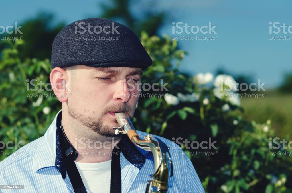 Musician Saxophone Roses Field stock photo