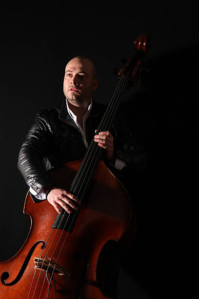 Musician with double bass stock photo