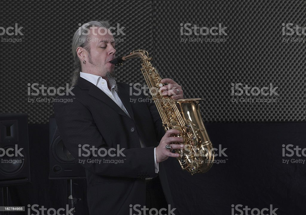 musician with saxophone stock photo