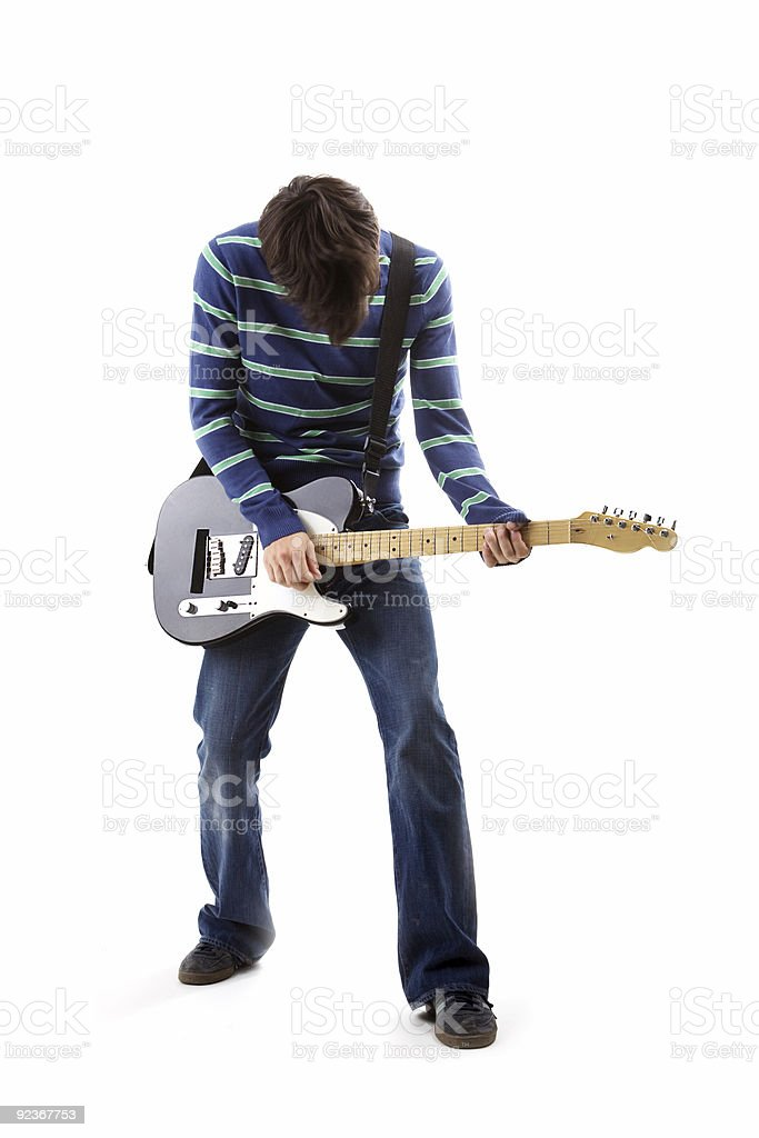 A musician without a head playing the guitar royalty-free stock photo