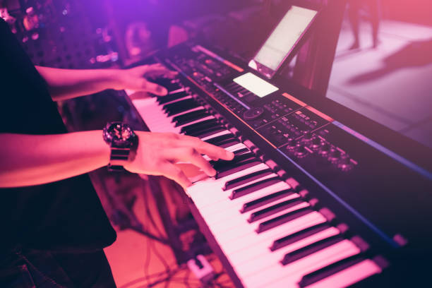Musicians are playing keyboards in concert. Musicians are playing keyboards in concert. keyboard player stock pictures, royalty-free photos & images