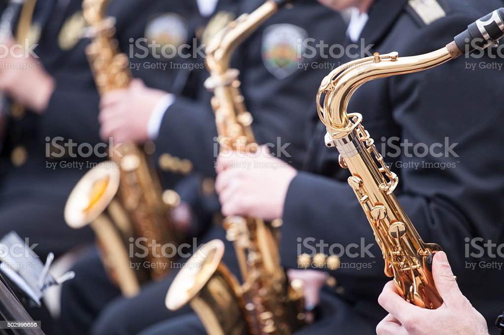 musicians are playing on Saxophone stock photo