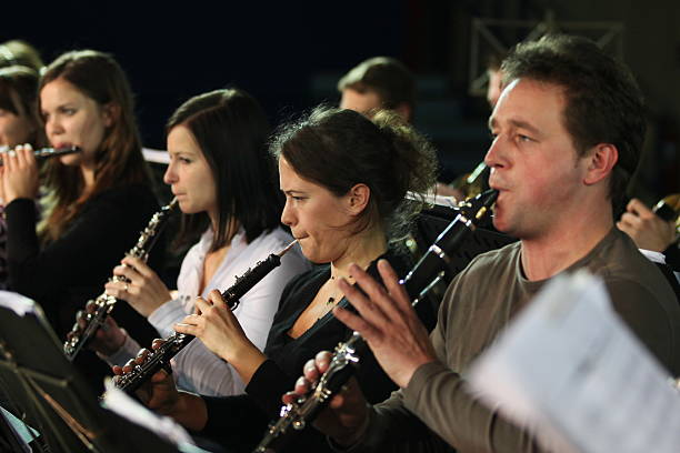 Musicians at the concert playing stock photo