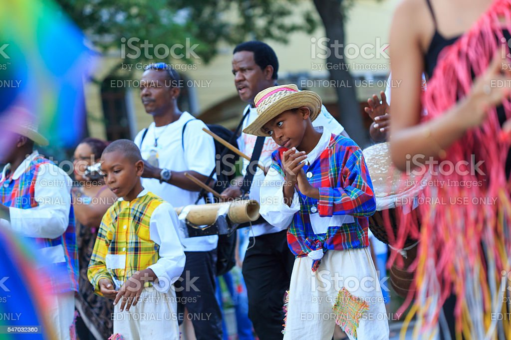 Musicians from group for traditional folklore of Martinique on parade - Photo