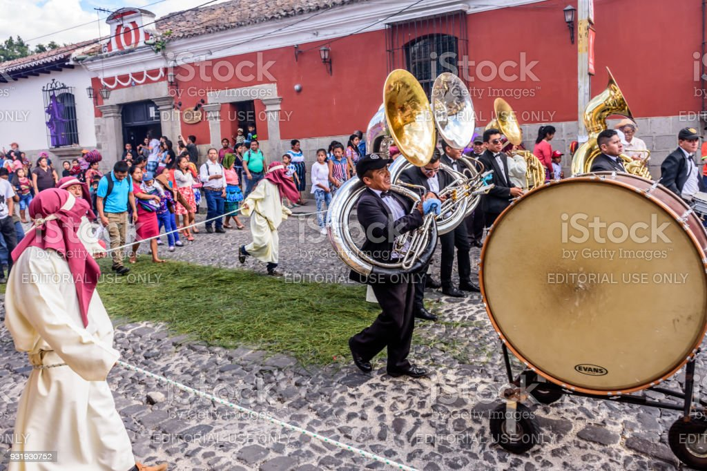 Musicians in procession on first Sunday of Lent, Antigua, Guatemala stock photo