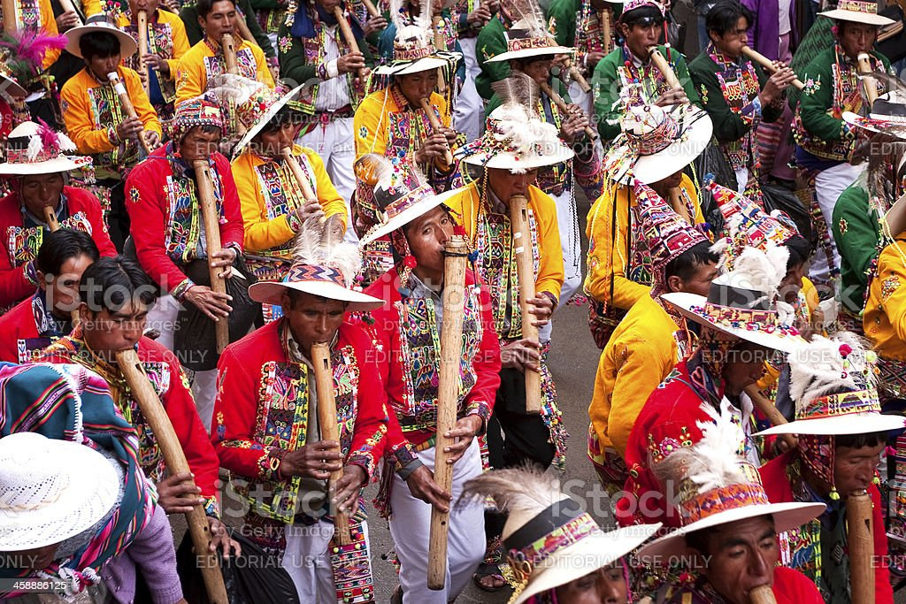 Musicians in the parade. Carnival of Oruro, Bolivia. royalty-free stock photo