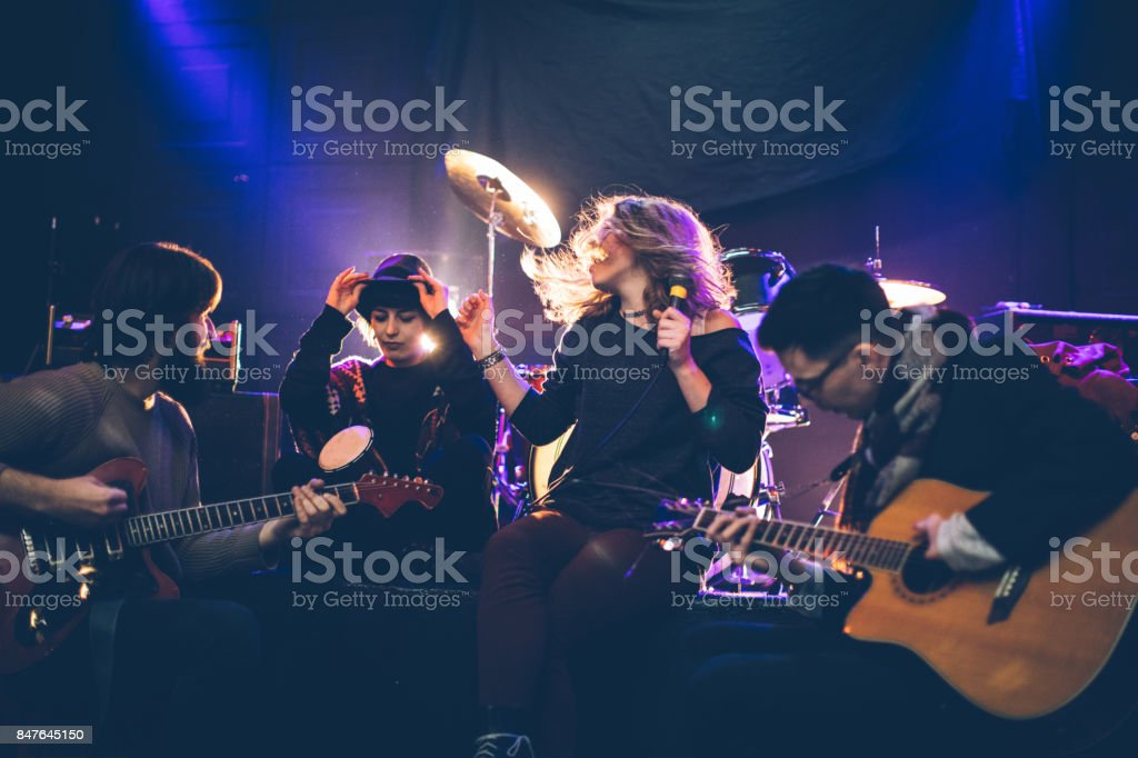 Musicians making music stock photo