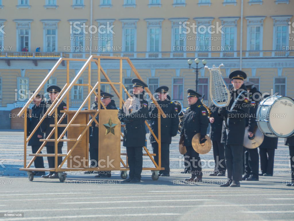 musicians of a military brass band is preparing for the rehearsal of the victory parade stock photo