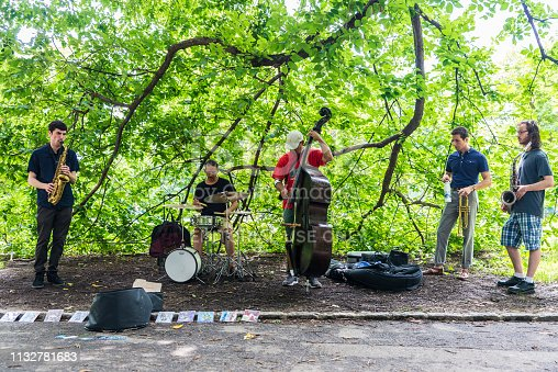New York City, USA - July 28, 2018: Musicians of jazz and blues playing in a performance in Central Park, New York City, USA