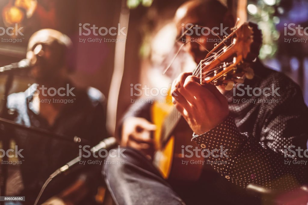 Musicians on A Stage stock photo