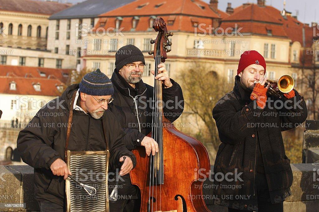 Musicians on Charles Bridge, Prague stock photo