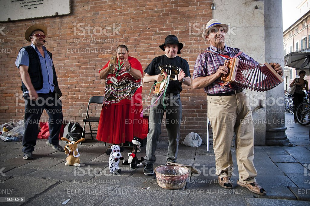 Musicians on the street royalty-free stock photo