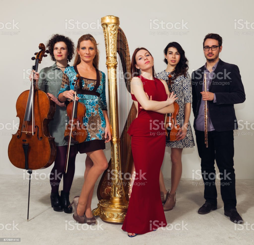 musicians on white background - foto stock