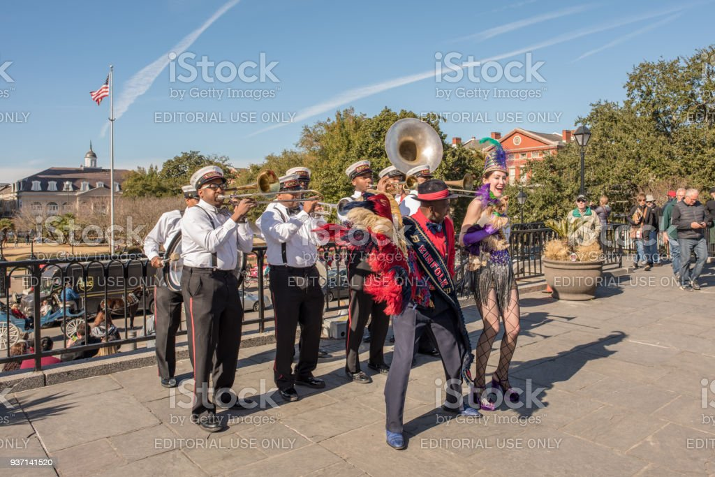 Musicians play at Jackson Square in the French Quarter stock photo