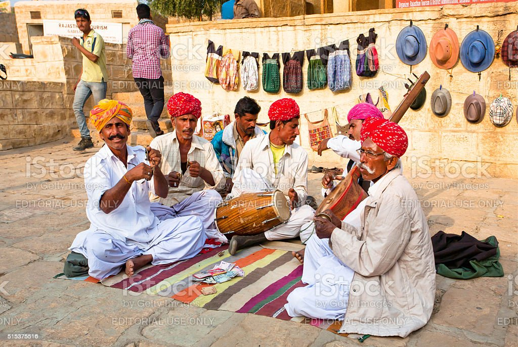 Musicians play indian music on different instruments outdoor stock photo