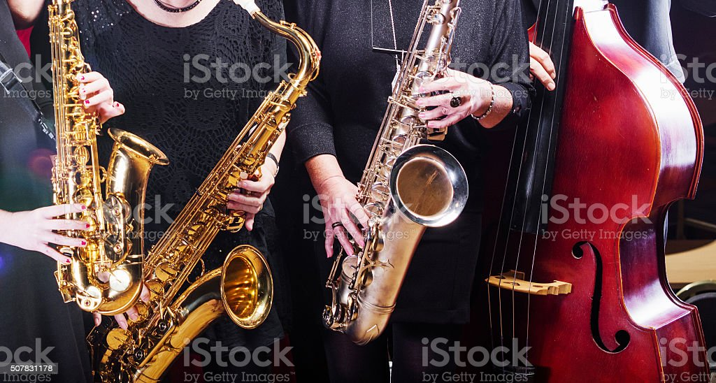 Musicians playing in a big band stock photo
