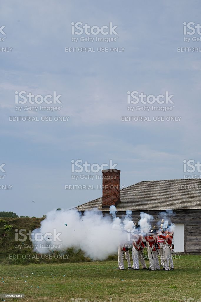 Musket Demonstration im Fort George Park, Niagara-on-the-Lake – Foto