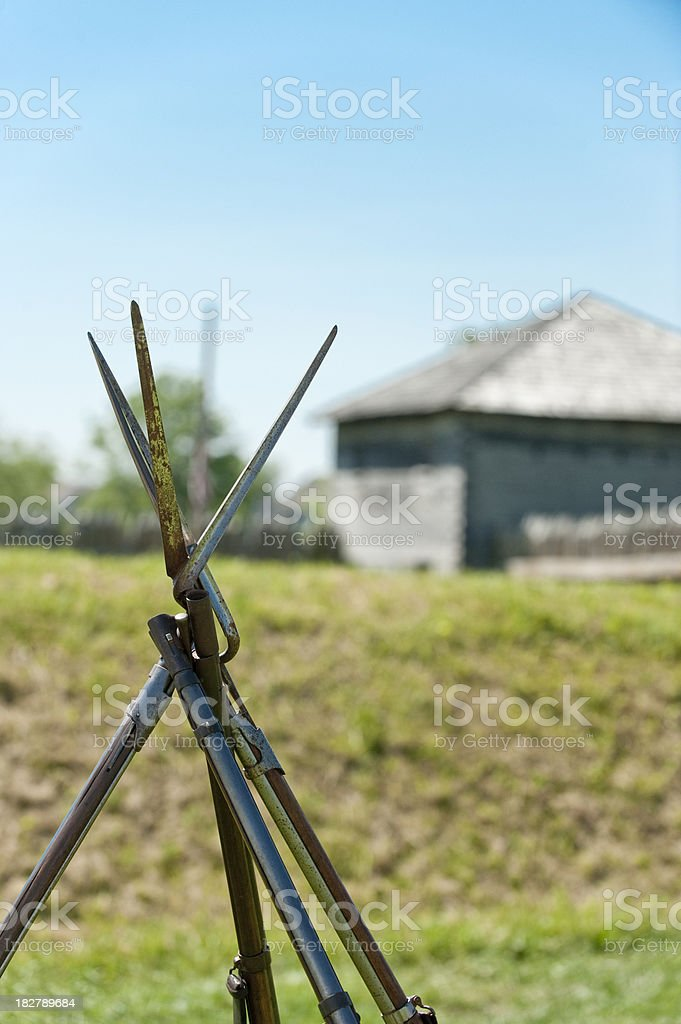 Muskets in a Fort royalty-free stock photo