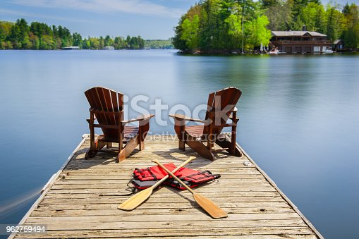 Two Muskoka chairs on a wooden dock facing a lake. Paddles and life jackets are visible on the dock. Across the calm water there is a brown cottage.