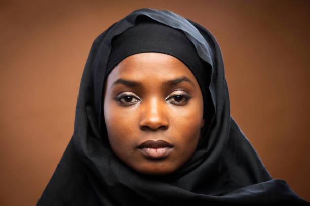 Muslim black young woman stock photo