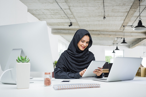 Muslim Business Woman Working In Office Stock Photo - Download Image Now
