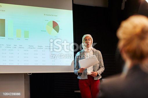 Middle eastern businesswoman having presentation in conference room in front of projection screen.